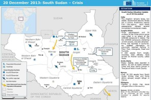 South Sudan crisis map December 2013